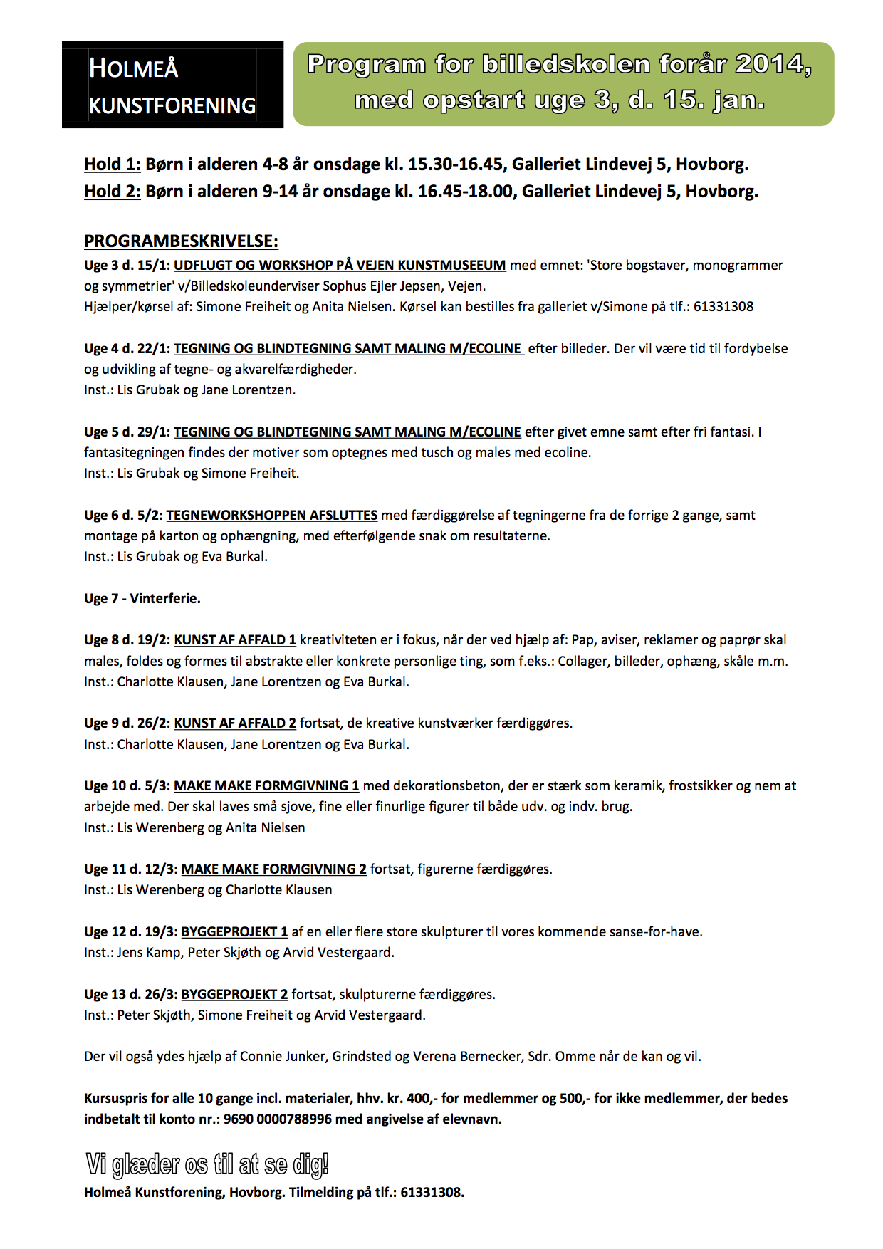 Program billedskolen forår 2014