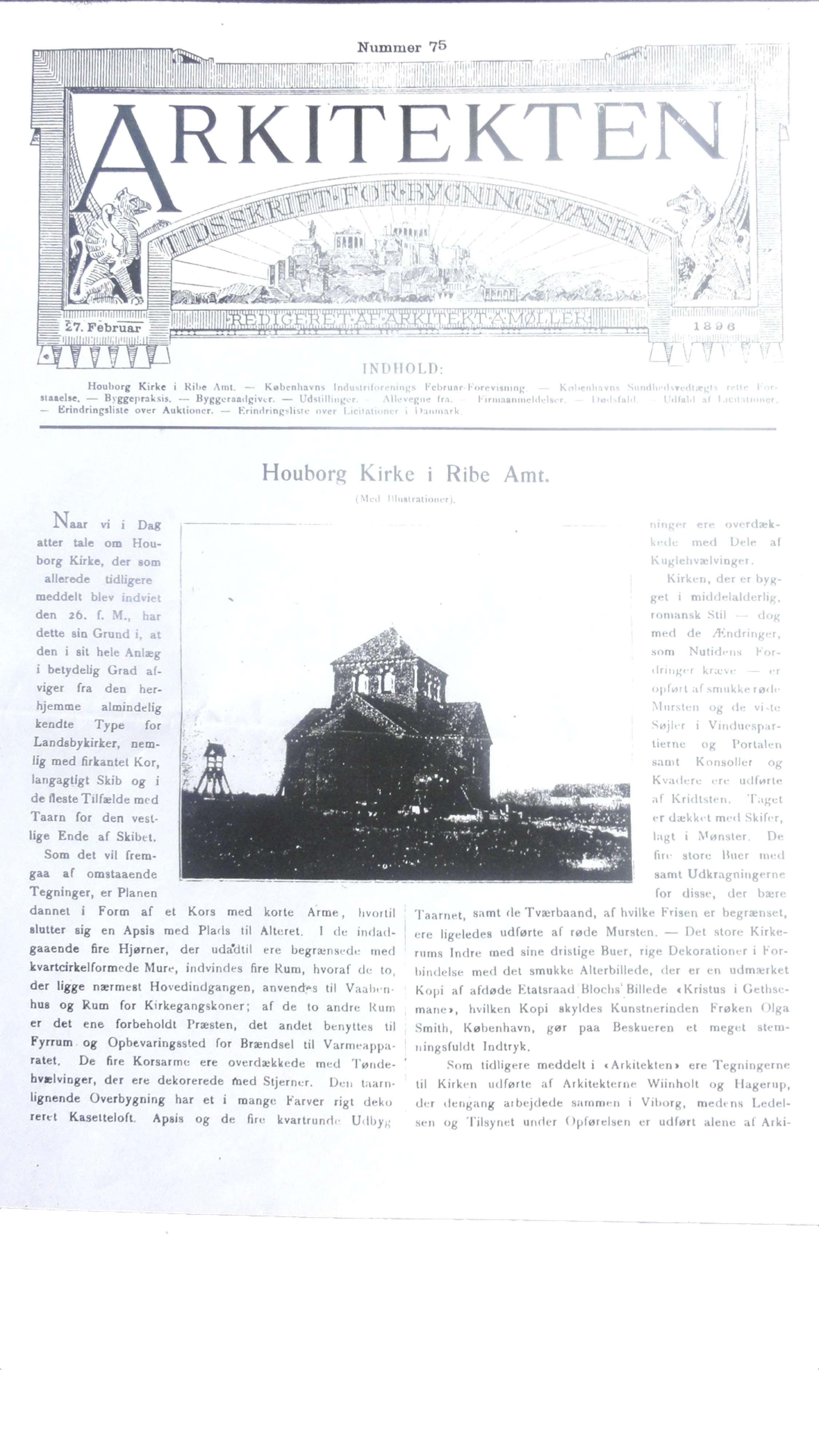 Arkitekten 27. februar 1896 side 1