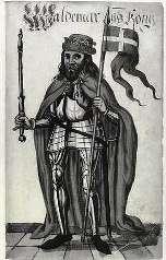 Valdemar 2. Sejr med Dannebrog, der ifoelge legenden faldt ned fra himlen i Estland. redigeret